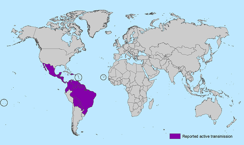 Aree del virus Zika