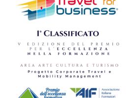 Il Corso Travel Mobility di Travel for business si aggiudica il 1° premio AIF per l'eccellenza nella formazione